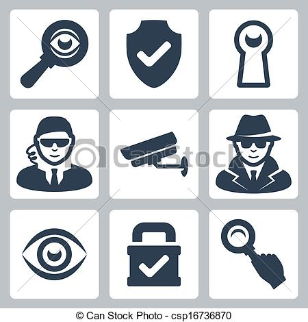 Security logo clipart sign clip art transparent stock Vectors Illustration of Vector spy and security icons set ... clip art transparent stock
