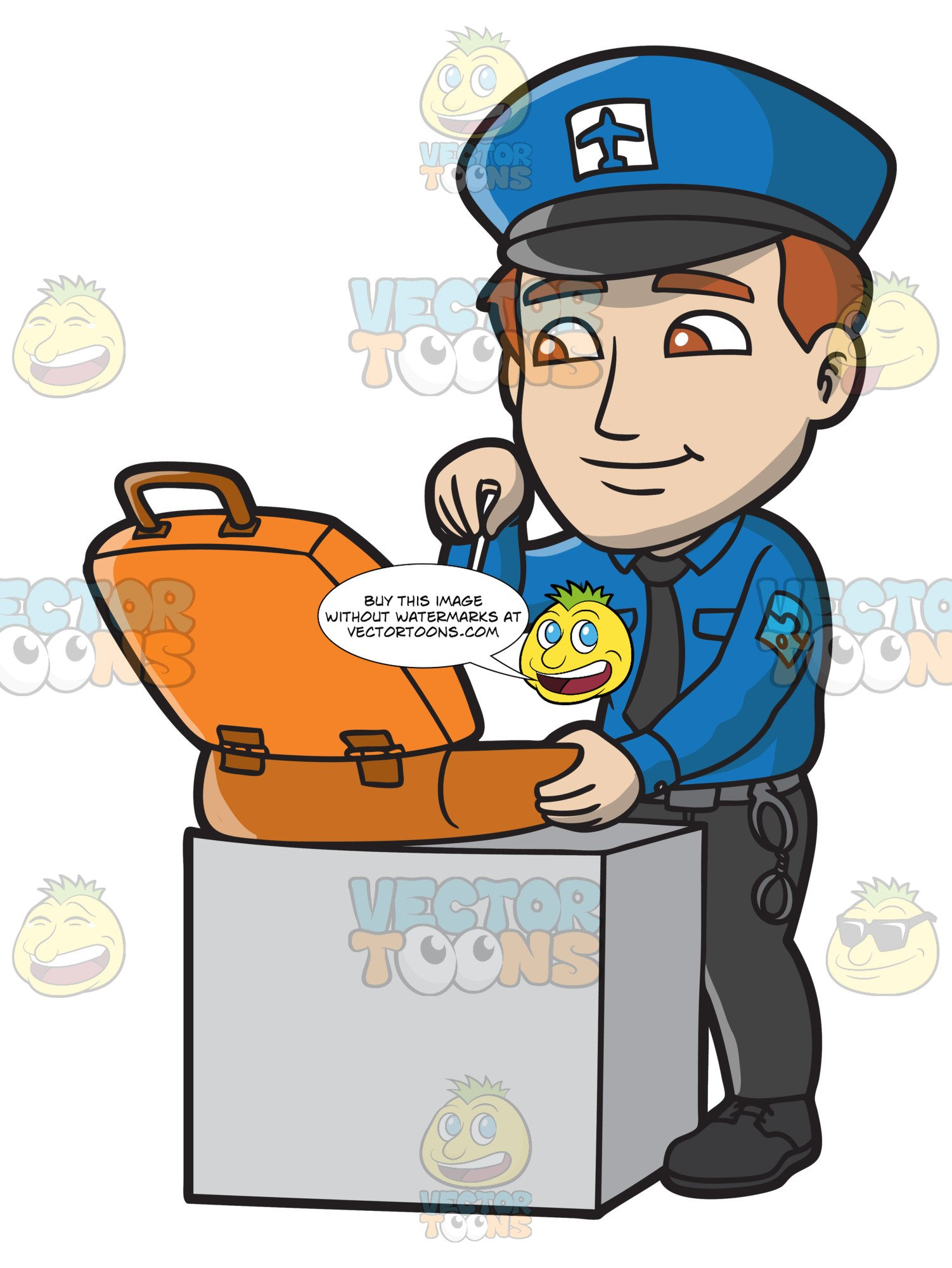 Security man clipart png royalty free A Male Airport Security Guard Inspecting A Suitcase png royalty free