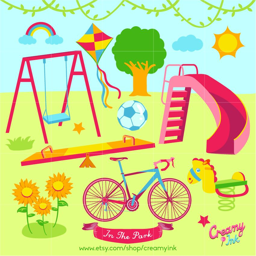See more clipart clip art Playground digital clip art featuring see saw, swing, slides ... clip art