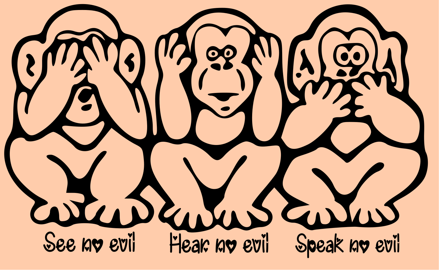 Library Of See No Evil Hear No Evil Clip Art Black And White Png