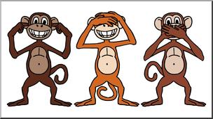 See no evil hear no evil clipart clip art Clip Art: Cartoon Monkeys: Hear No Evil, See No Evil, Speak ... clip art