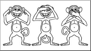 See no evil hear no evil clipart clipart freeuse library Clip Art: Cartoon Monkeys: Hear No Evil, See No Evil, Speak ... clipart freeuse library