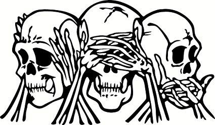 See no evil hear no evil clipart picture freeuse stock Amazon.com: Hear See & Speak No Evil Skulls Vinyl White ... picture freeuse stock