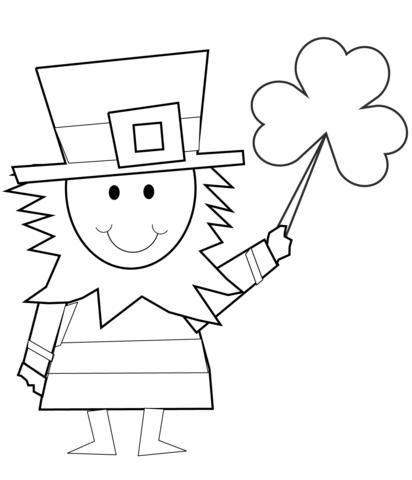 Seeing a leprechaun clipart black and white jpg freeuse stock Cartoon Leprechaun with Shamrock coloring page | Free ... jpg freeuse stock