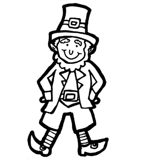 Seeing a leprechaun clipart black and white clip library Leprechaun, : Classic Leprechaun Costume for Parade Coloring ... clip library