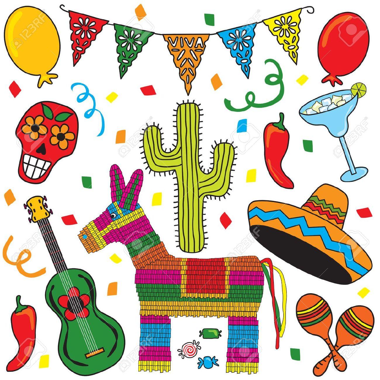 Sehr gut clipart picture black and white ClipArt Mexikanische Fiesta Individuell Gruppiert. Sehr Gut Für ... picture black and white