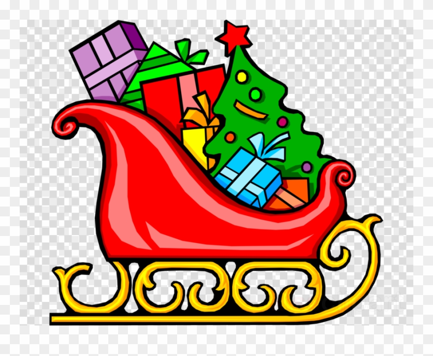 Slegh clipart picture free Santa\'s Sleigh With Presents Clipart Santa Claus Sled ... picture free