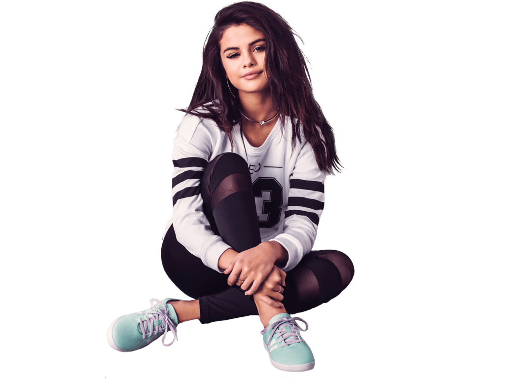 Selena gomez clipart picture black and white Selena Gomez Sitting Sneakers transparent PNG - StickPNG picture black and white