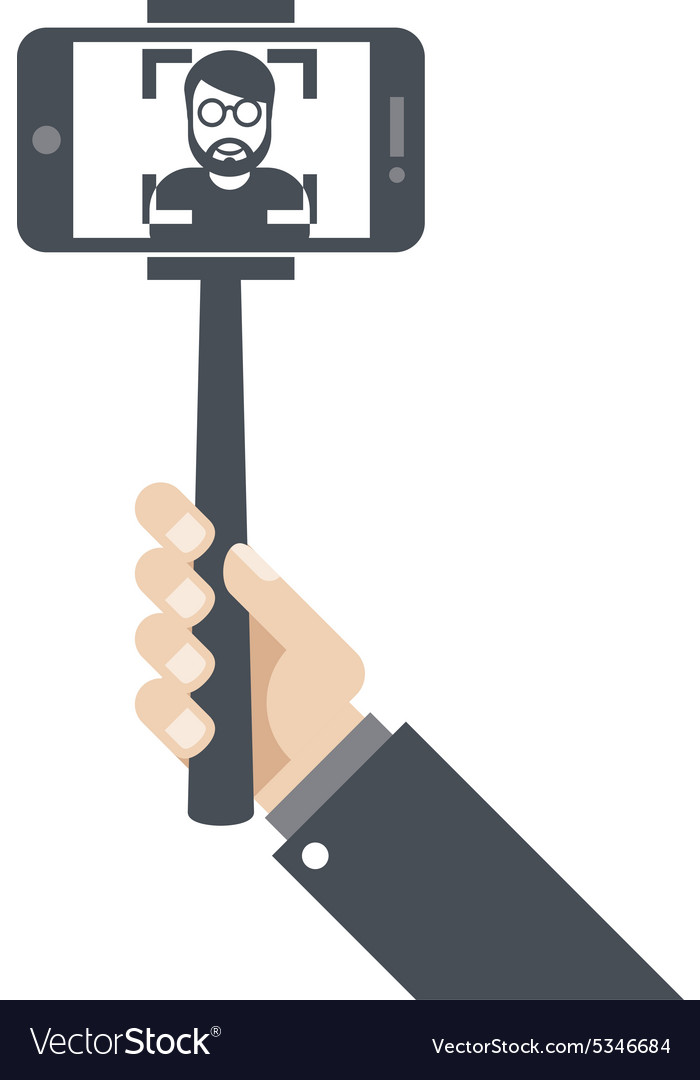 Selfie stick clipart jpeg image black and white Hand with smartphone on selfie stick image black and white