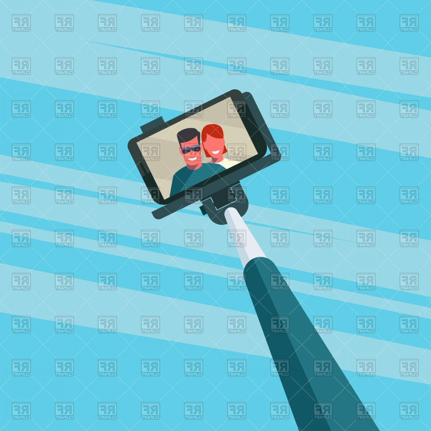 Selfie stick clipart jpeg picture transparent stock Portrait Of Smiling Young Couple On Smartphone Selfie Stick ... picture transparent stock