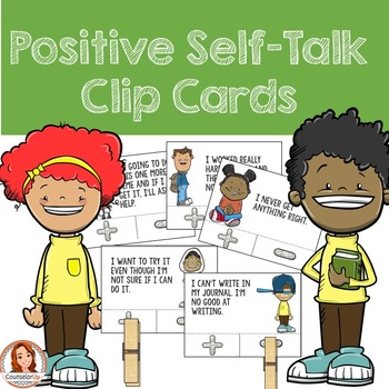 Self-talk clipart clipart black and white Positive Self Talk and Growth Mindset Clip Cards clipart black and white
