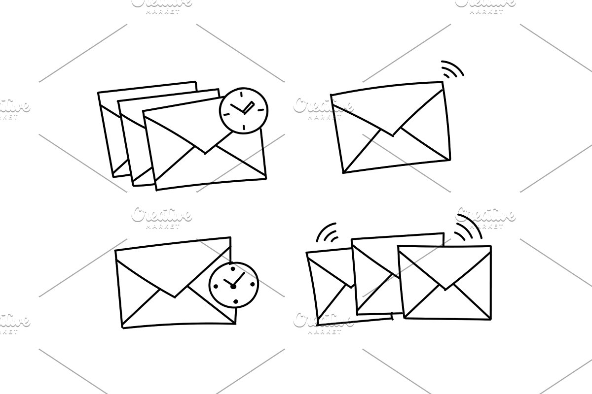 Send clipart black and white png free Several envelopes waiting to be send Closed envelope waiting. Vector stock  clipart illustration. Hand drawn black line. png free