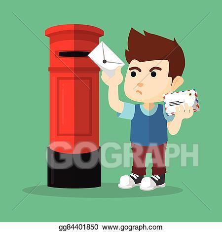 Sending a letter clipart png freeuse download EPS Vector - Boy sending letter. Stock Clipart Illustration ... png freeuse download