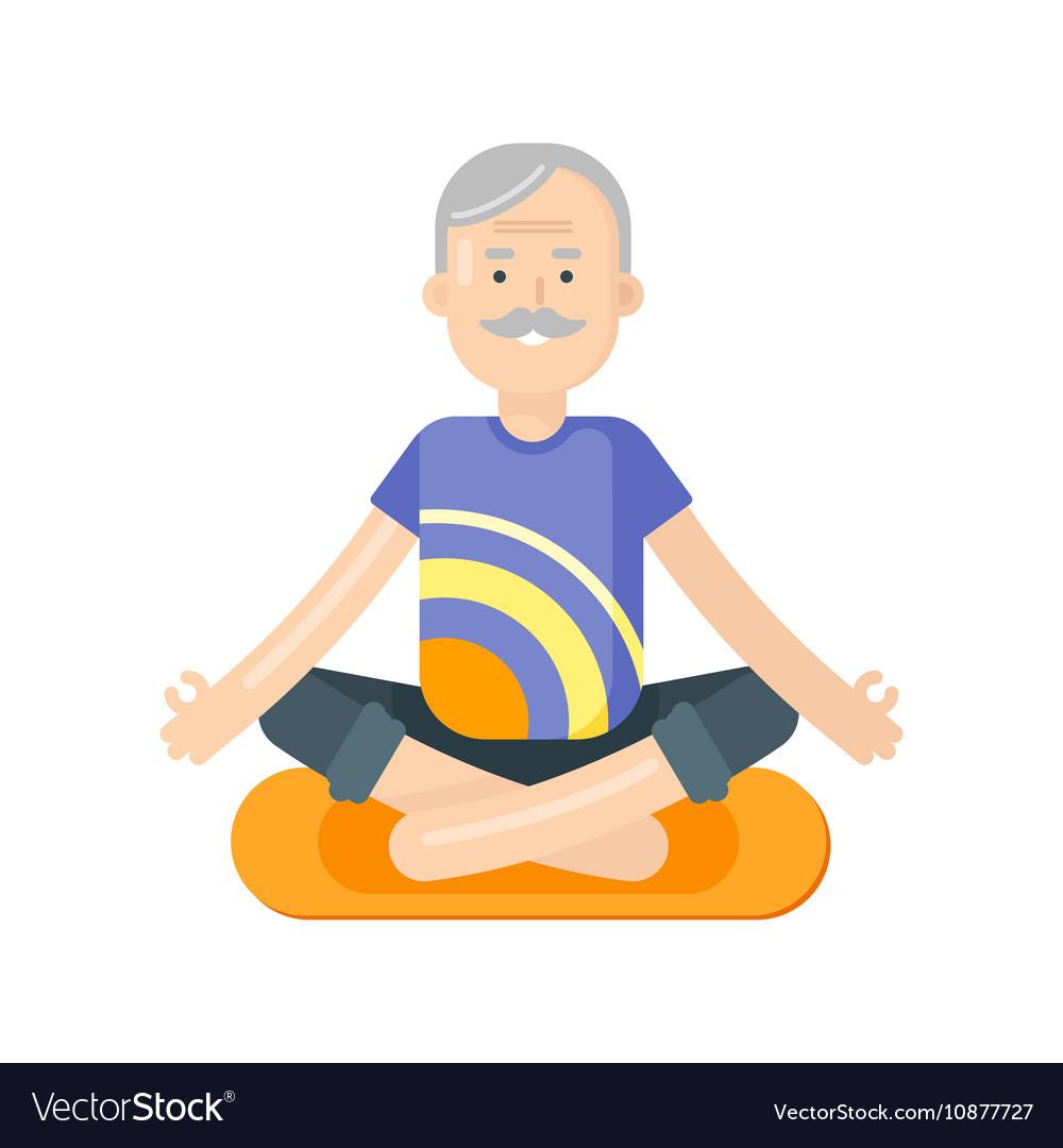 Senior yoga clipart jpg library stock Flat style of senior man doing yoga jpg library stock