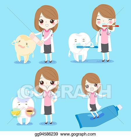 Sensitive clipart jpg black and white library Vector Illustration - Dentist with sensitive tooth. EPS ... jpg black and white library