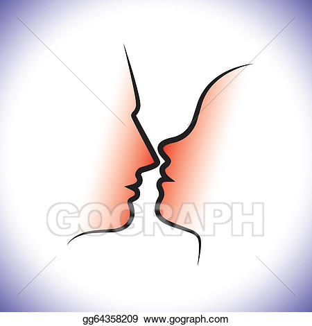 Sensuality clipart free download Vector Clipart - Man & woman couple, kissing each other with ... free download