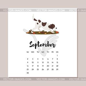 September calendar 2018 clipart jpg free library September 2018 dog year calendar - vector clip art jpg free library