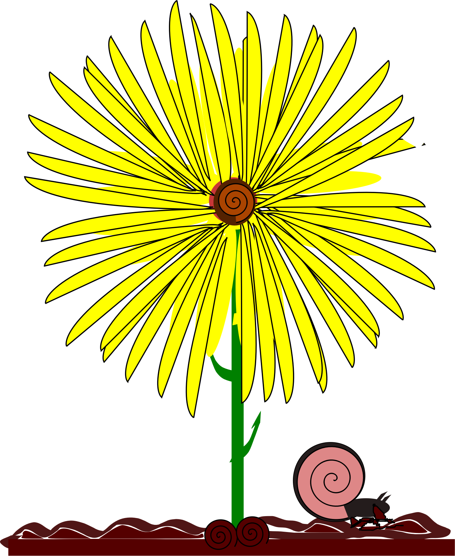 September flower clipart picture download Clipart - yellow flower and snail picture download
