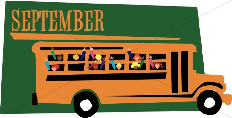 September kids clipart school clipart free stock Kids in a Schoolbus in September | Christian Calendar Clipart clipart free stock