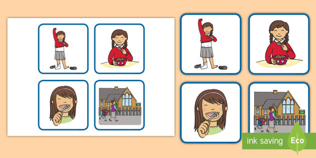 Sequencer clipart clipart library Sequencing Cards Girl Getting Ready for School - school, cards clipart library