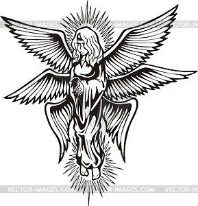 Seraph clipart vector black and white stock Six-winged angel shined - vector clipart | seraphim in 2019 ... vector black and white stock
