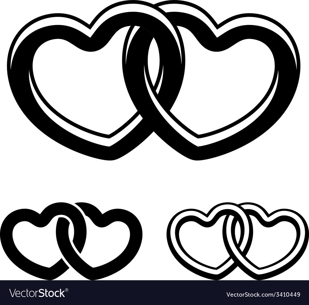 Serpentine goin up clipart black and white jpg library download Linked hearts black white symbols jpg library download