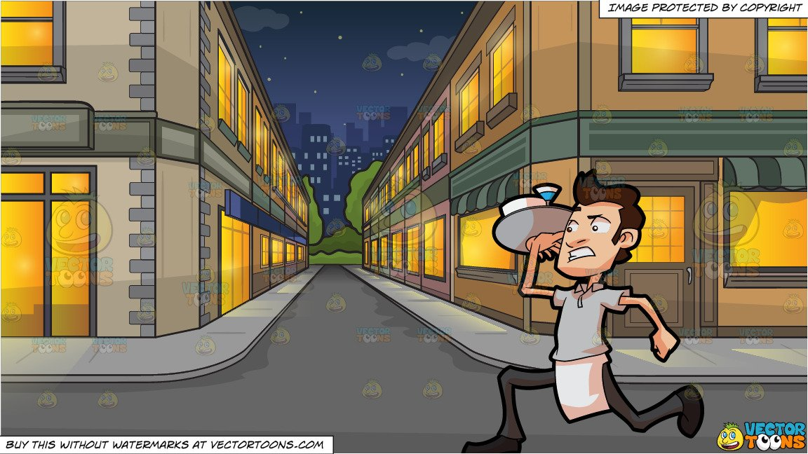 Serve the city clipart banner library stock A Waiter Rushing Out To Serve Orders and An City Side Street At Night  Background banner library stock