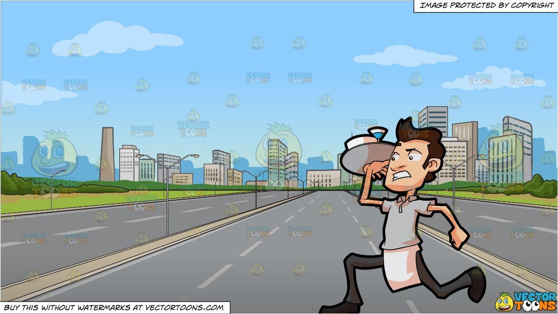 Serve the city clipart jpg free stock A Waiter Rushing Out To Serve Orders and A Highway Leading ... jpg free stock