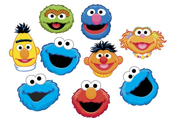 Sesame stree clipart freeuse download Instant Download Sesame Street Heads Clip Art Set By ... freeuse download