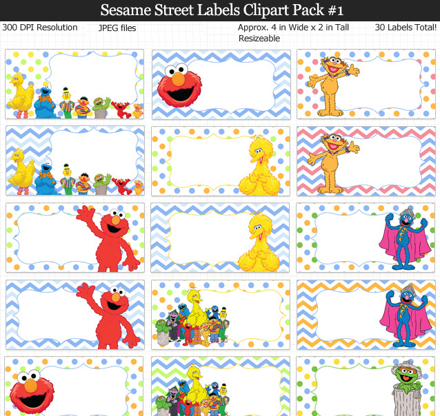 Sesame street clipart border clipart freeuse stock Sesame Street Labels Clipart Pack clipart freeuse stock
