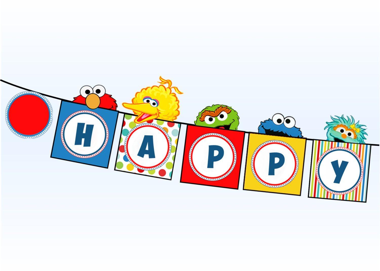 Sesame street party clipart vector library download Sesame Street Banner - Elmo Cookie Monster Big Bird Oscar ... vector library download