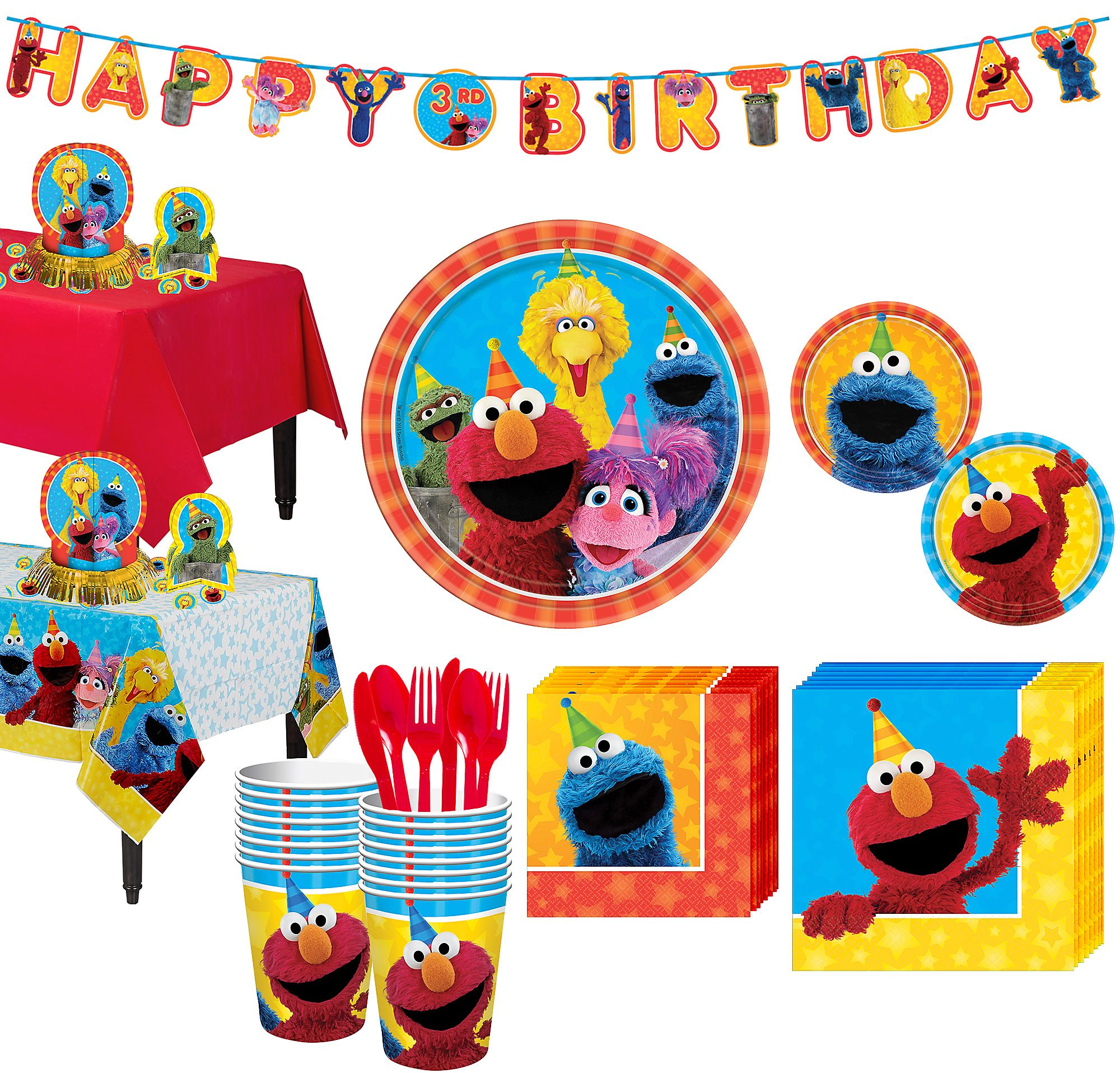 Sesame street party clipart clip free Sesame Street Birthday Party Supplies 16 Guest Plates Cups ... clip free