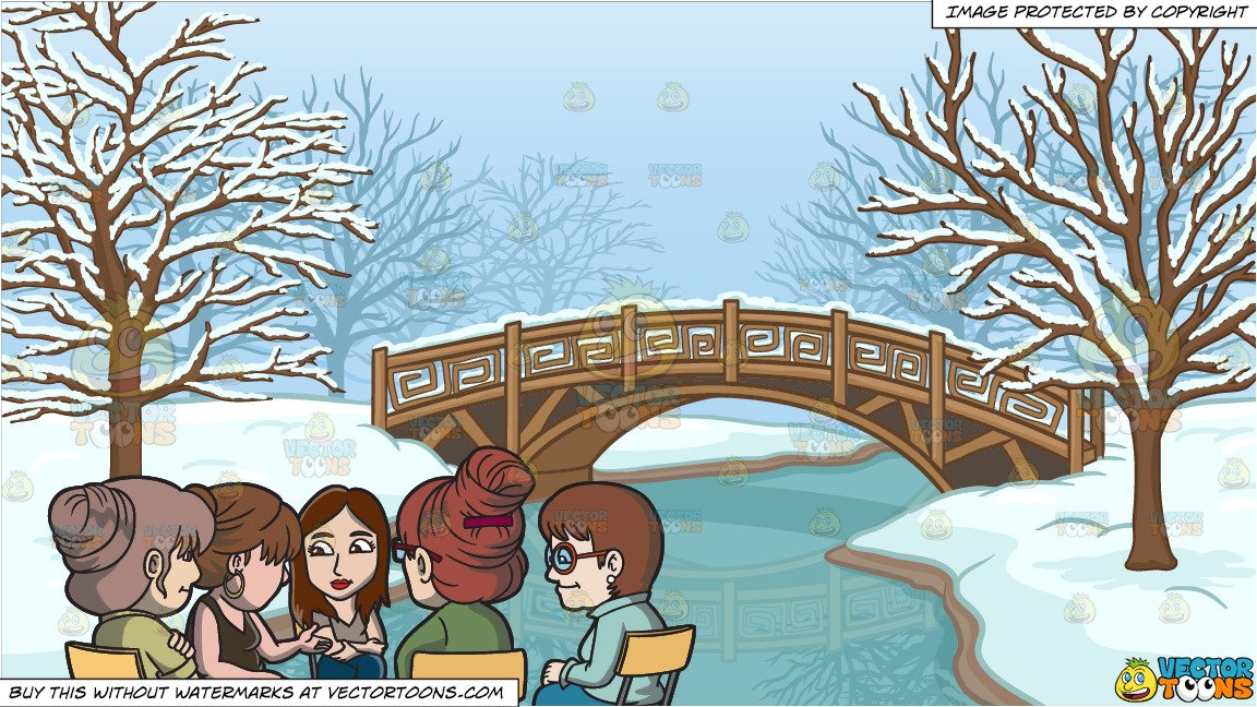 Session over clipart vector black and white A Female Support Group Session and A Bridge Over A Frozen Stream Background vector black and white