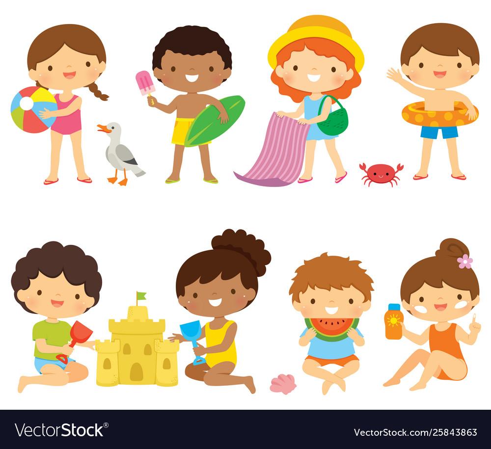 Set clipart stock Kids at beach clipart set stock