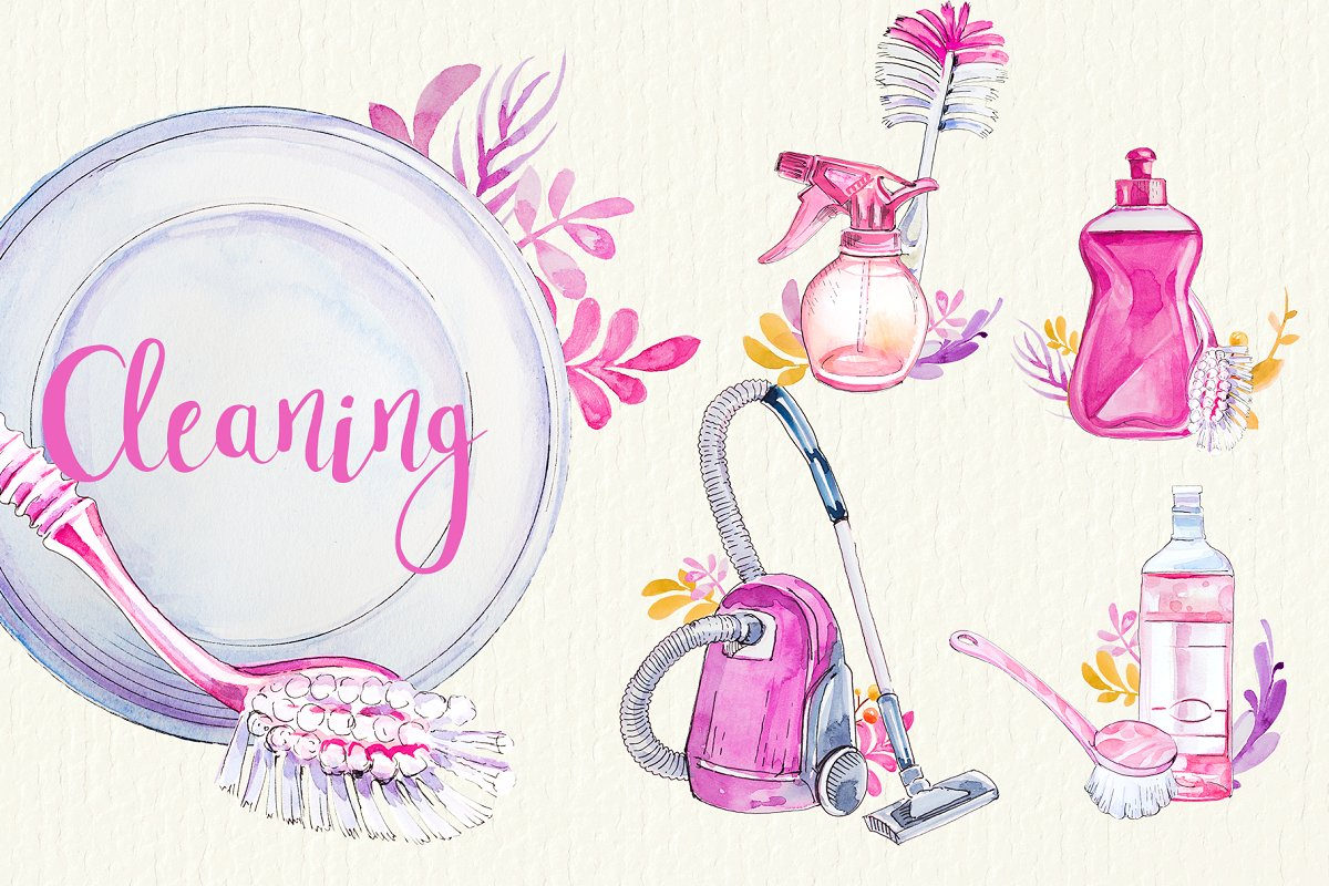 Set clipart jpg royalty free library Watercolor Cleaning Clipart Set jpg royalty free library