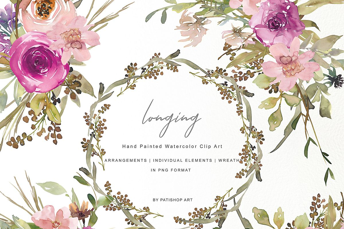 Set of flowers clipart image Watercolor Dusty Pink and Purple Flowers Clipart Set image
