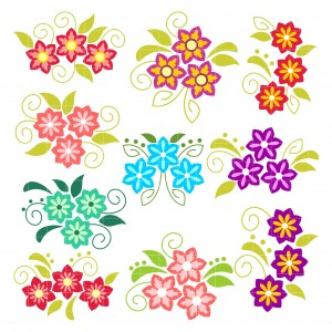 Set of flowers clipart freeuse library Pretty Flowers Arts Set Semi Exclusive Clip Art Set For Digitizing and More freeuse library