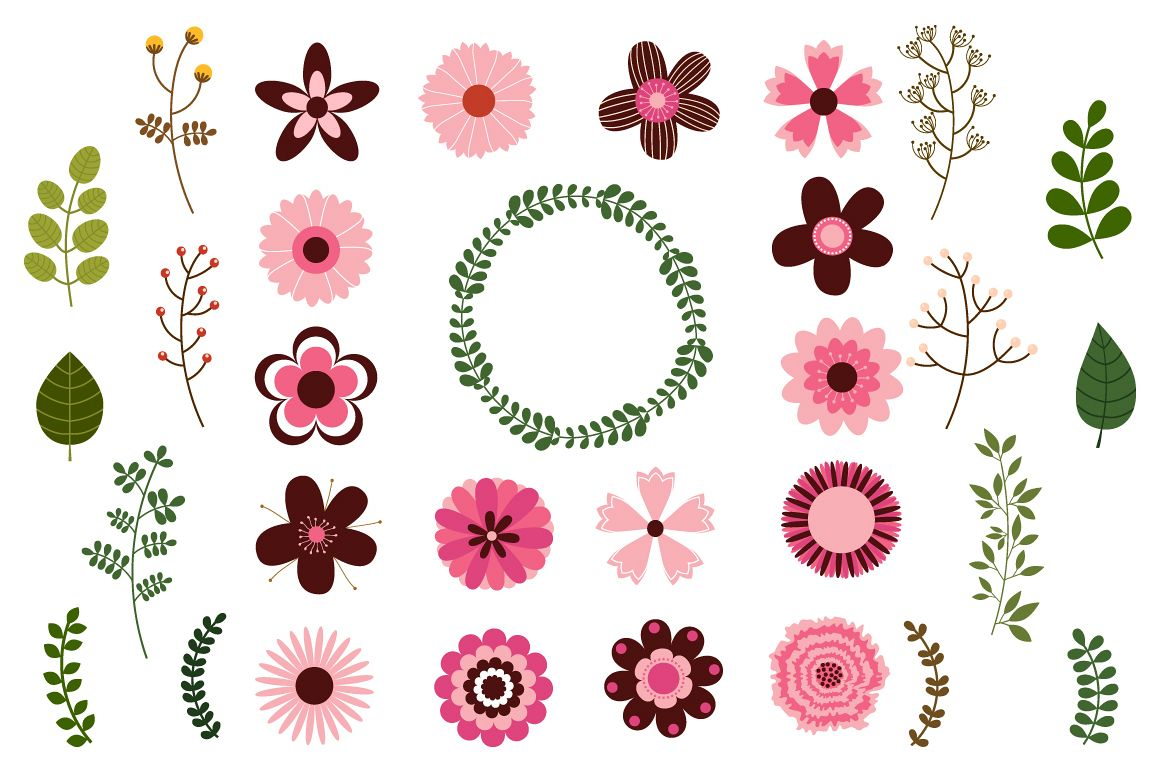 Mod flowers clipart clip royalty free library Pink wedding flowers clipart, Mod retro floral set clip royalty free library