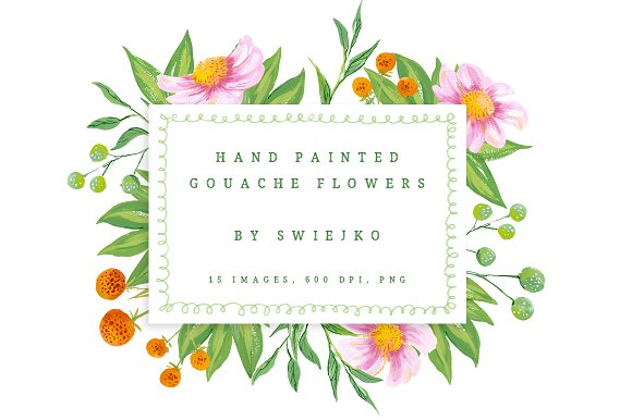 Set of flowers clipart graphic freeuse library Gouache Flowers clipart set graphic freeuse library