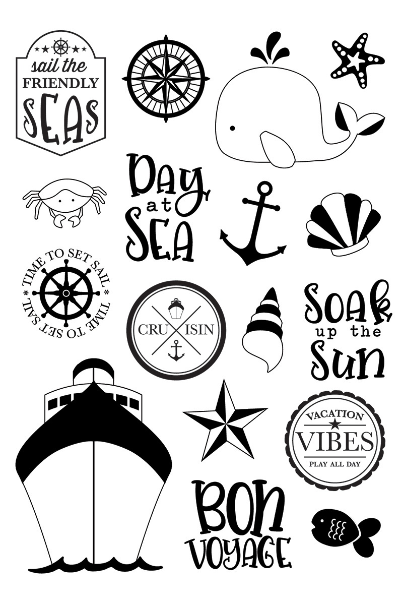Set sail clipart clear svg black and white download Cruisin\' Photopolymer Clear Stamps-Set Sail - 0811958034210 svg black and white download