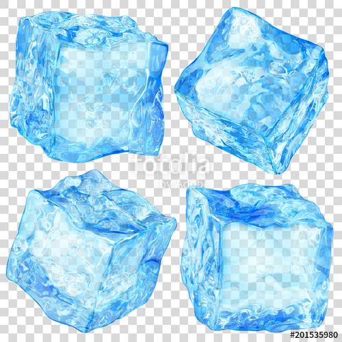 Set transparent color clipart svg freeuse Set of four realistic translucent ice cubes in light blue ... svg freeuse