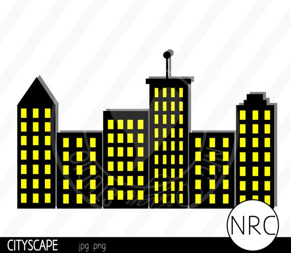 Settings sillohette clipart image library download Cityscape Skyline Clip Art Silhouette by NRCDesignStudio on ... image library download