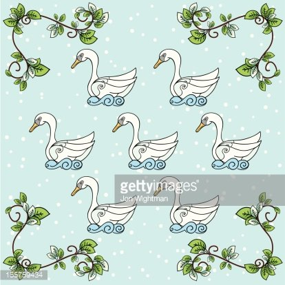 Seven swans a swimming clipart vector stock The Twelve Days of Christmas Seven Swans A Swimming premium ... vector stock