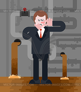 Sewer gas clipart black and white download Man in sewer. Stink. Bad smell. Businessman Close - vector ... black and white download