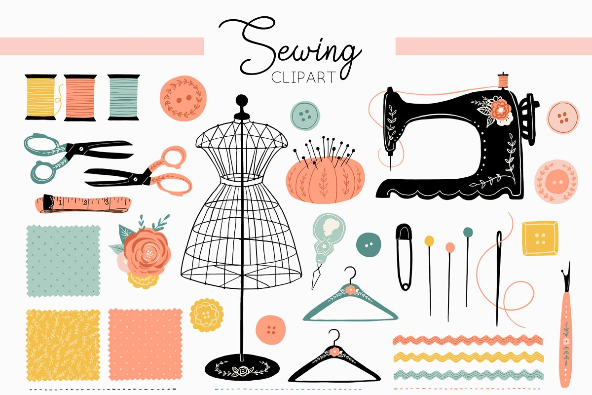 Sewing pattern clipart vector library library Vintage Antique Sewing Clipart vector library library