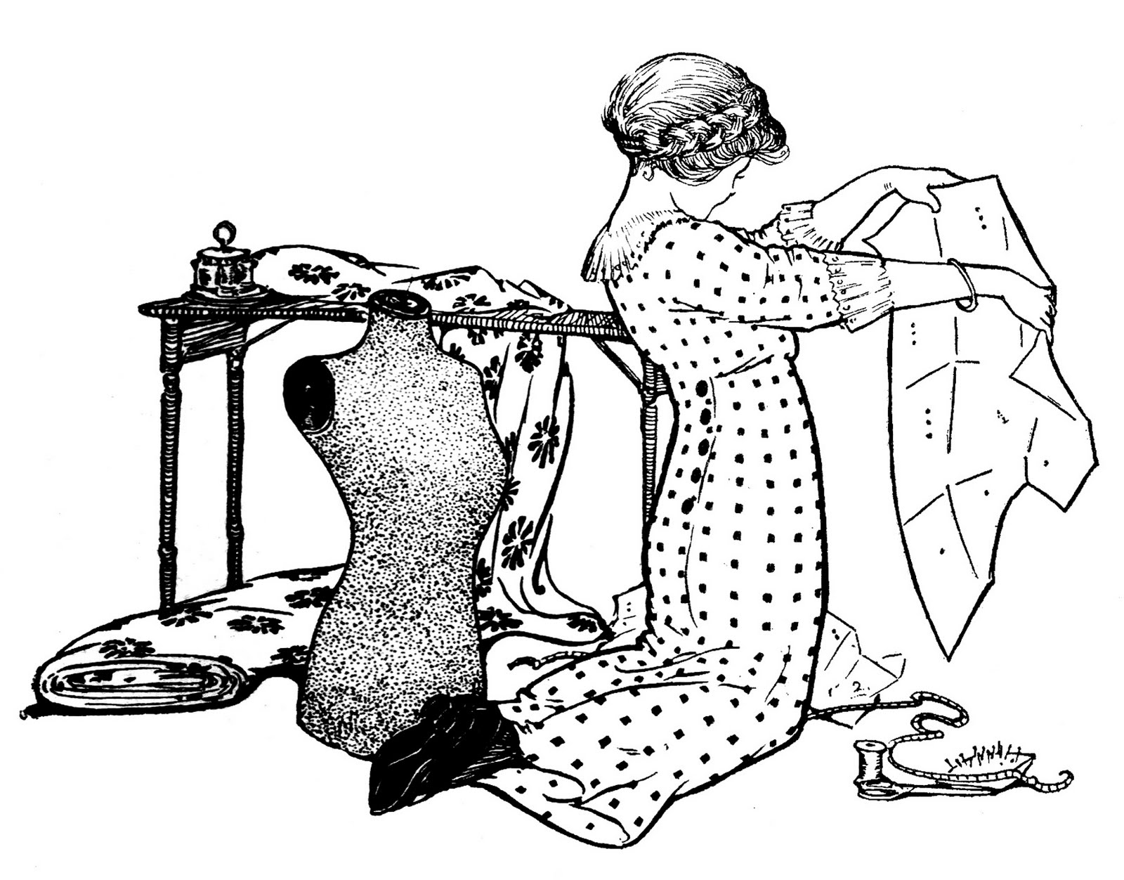 Sewing pattern clipart stock Vintage Sewing Clip Art - Girl with Pattern and Dress Form ... stock