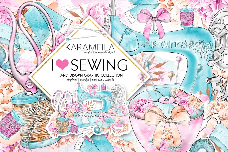 Sewing pattern clipart graphic stock Sewing Clipart ~ Illustrations ~ Creative Market graphic stock