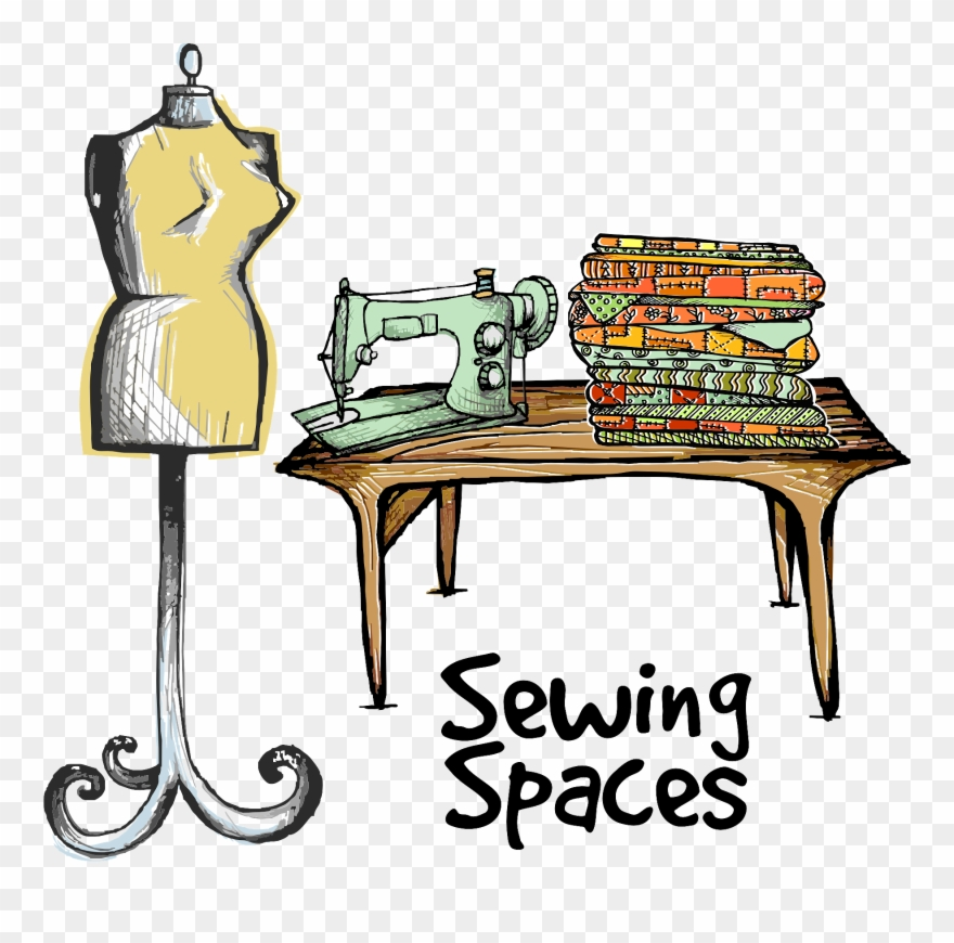 Sewing table clipart jpg black and white download Desk Clipart Messy - Putting A Sewing Room Together - Png ... jpg black and white download