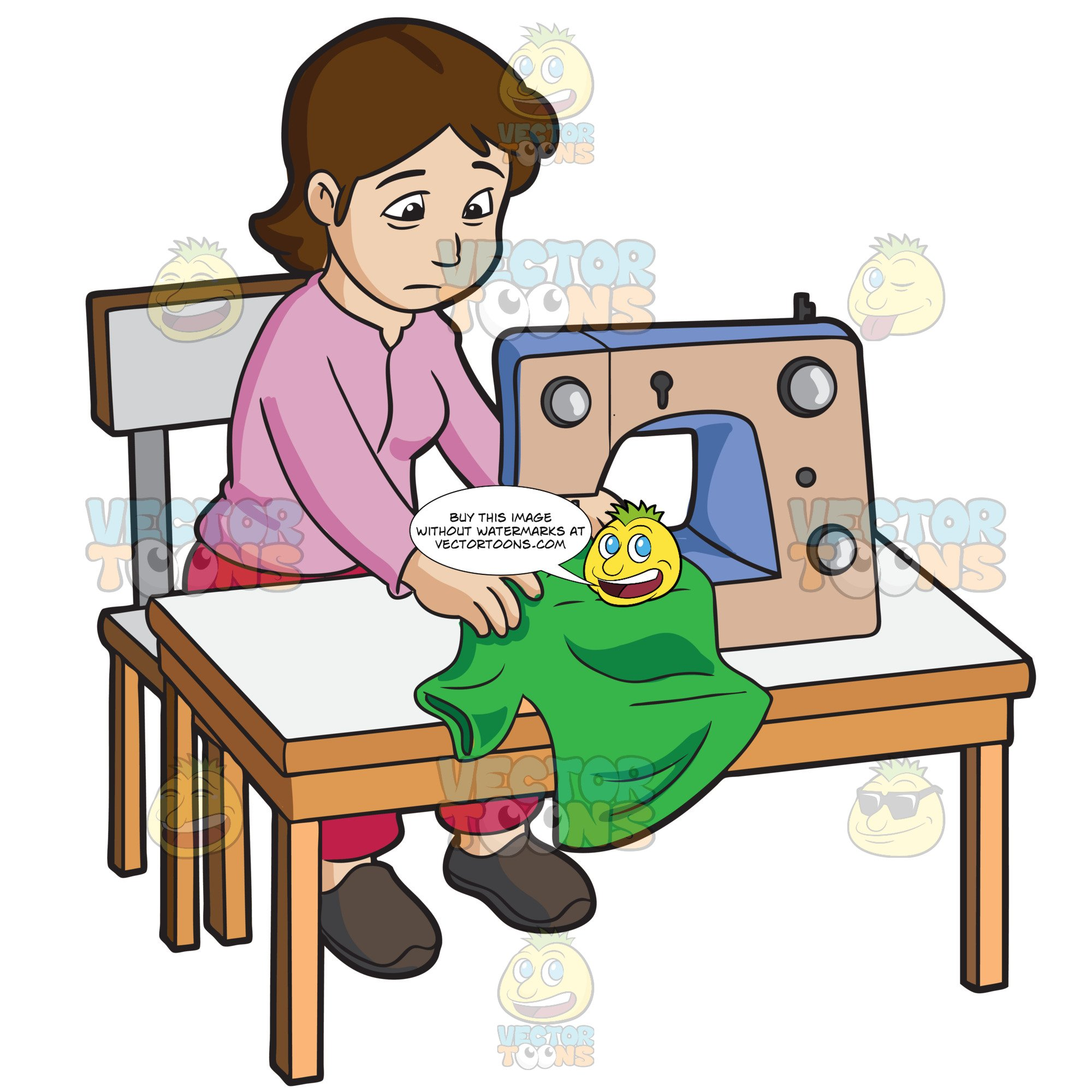 Sewing table clipart svg free stock A Female Sweatshop Worker Sewing A Shirt svg free stock