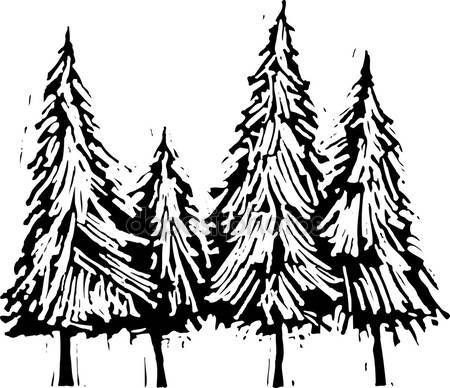 Sgrafitto clipart tree image transparent library Woodcut Illustration of Pine Trees   Arts/Crafts ... image transparent library